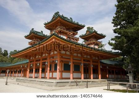 The UNESCO Ancient Shinto Shimogamo Shrine (also known as Shimogamo-jinja) in Kyoto, Japan. - stock photo