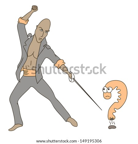 The unexpected question that surprised the question mark.  - stock photo