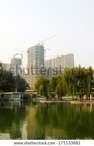 The Unfinished building site on october 18, 2013, tangshan city, hebei province, China.