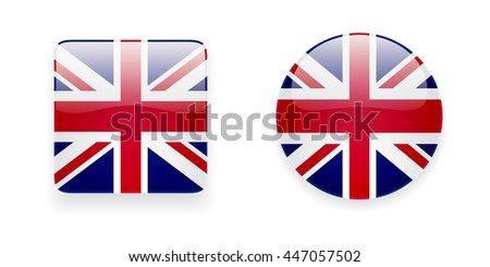 The Union Jack flag icon set. Glossy round icon and square icon with flag of the UK on white background. - stock photo