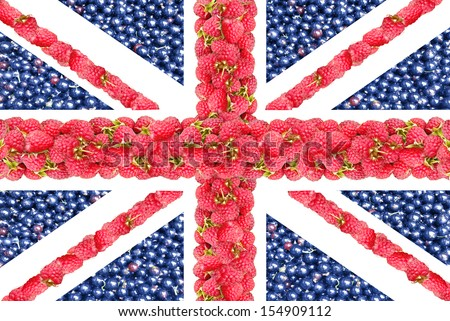 The Union Jack from the berries of a raspberry and currant.