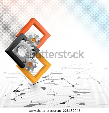 The Unique Idea for technology background; Cogwheels framed by three dimensions squares. Abstract background for office and business, wallpaper, poster, template for designers.  - stock photo