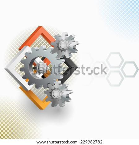 The Unique Idea:Three dimensions artistic design and elaborate arrangement with gear and squares.Abstract background for office and business, wallpaper, poster, template for designers.  - stock photo