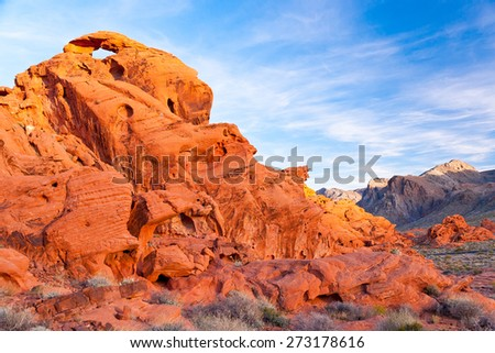 The unique red sandstone rock formations in Valley of Fire State park, Nevada, USA - stock photo