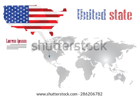 The united state map is on the world map - stock photo