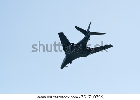 The United States Air Force B-1B strategic bomber flying at ADEX 2017 Air Show in Seongnam Airport, South Korea on October 16, 2017