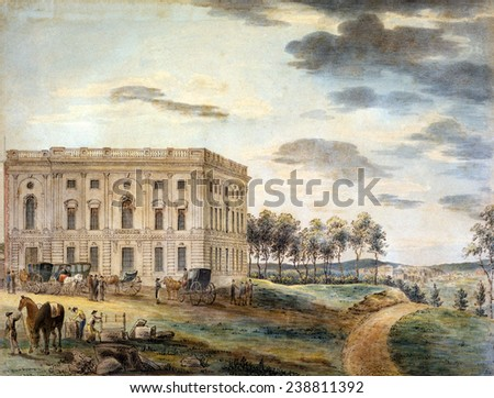 The United States Capitol building A view of the Capitol of Washington before it was burnt down by the British Washington, William Birch watercolor, ca. 1800 - stock photo