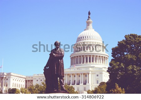 The United States Capitol building vintage in Washington DC, USA - stock photo