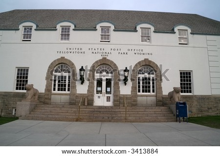 The United States Post Office at Mammoth Hot Springs is the main post office in Yellowstone National Park.  It was built in the 1950's. - stock photo