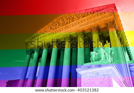 The United States Supreme Court with LGBT rainbow colors -- gay equal rights concept - stock photo