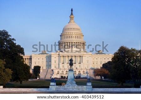 The United Statues Capitol Building before sunset, Washington DC, USA. - stock photo