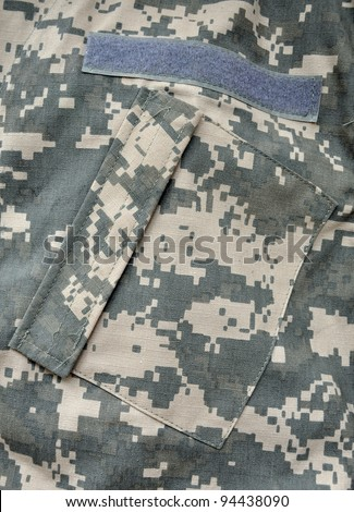 The Universal Camouflage Pattern, also referred to as Army Combat Uniform Pattern) or Digital Camouflage is the military camouflage pattern currently in use in the USA's Army Combat Uniform. - stock photo