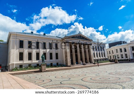 The University of Oslo is the oldest and largest university in Norway in Oslo - stock photo