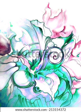 The unusual combination of colors - green and pink in graphics with colorful marine flowers  and plants.Ornamental decorative style.Watercolor. Hand draw illustration. - stock photo