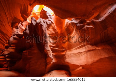 The Upper Antelope Canyon, Page, Arizona, USA. - stock photo