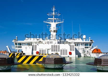 The upper deck, and a command post at a large ocean ferry - stock photo