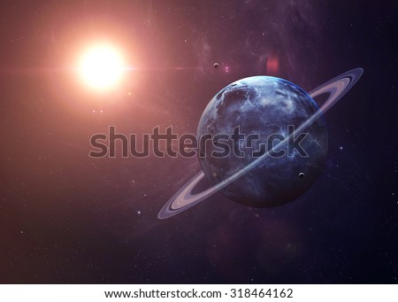The Uranus with moons shot from space showing all they beauty. Extremely detailed image, including elements furnished by NASA. Other orientations and planets available. - stock photo