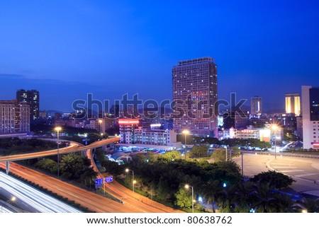 the urban night view of shenzhen ,China - stock photo