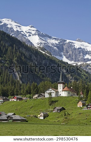 The Urnerboden  the largest alp in Switzerland is inhabited all year round - stock photo