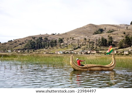 The Uros, an indigenous people predating the Incas, live on Lake Titicaca upon floating islands fashioned from this plant. - stock photo