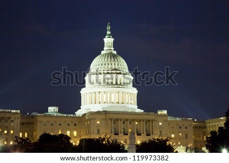 The US Capitol in Washington D.C. in the night - stock photo