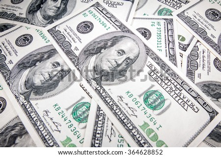 The US dollar bank notes 100 - stock photo