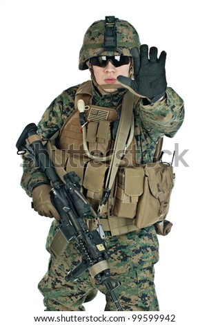 The US Soldier showing arm to prevent shooting - stock photo