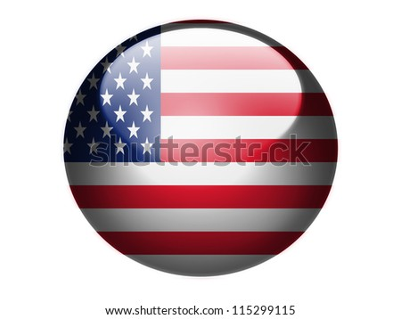 The USA flag painted on glossy round sphere or icon