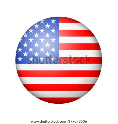 The USA flag. Round matte icon. Isolated on white background. - stock photo