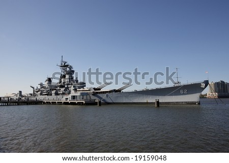 The USS New Jersey, moored at Camden, NJ - stock photo