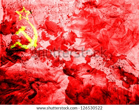 The USSR flag    painted dirty and grungy paper - stock photo
