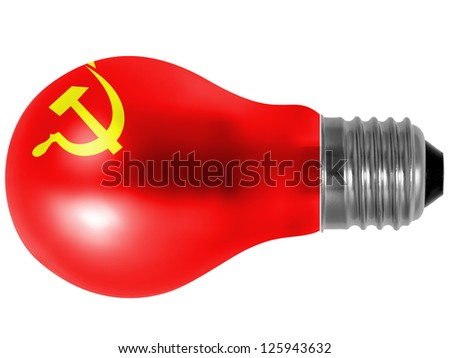 The USSR flag painted on  painted on lightbulb - stock photo