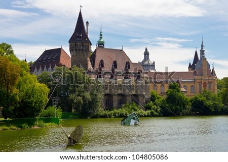 The Vajdahunyad Castle in Budapest main city park.