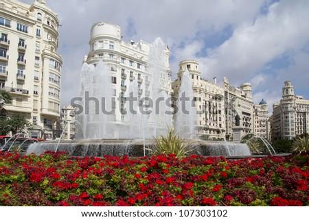 The Valencia, Spain Fountain in the main square. - stock photo