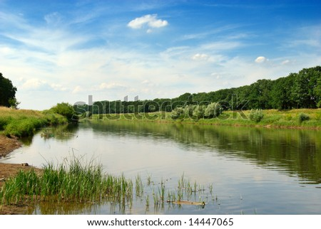 The valley of the Odra river in Poland - stock photo