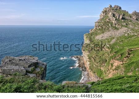 The Valley of the Rocks and Atlantic Ocean. Devon, England, UK.  - stock photo