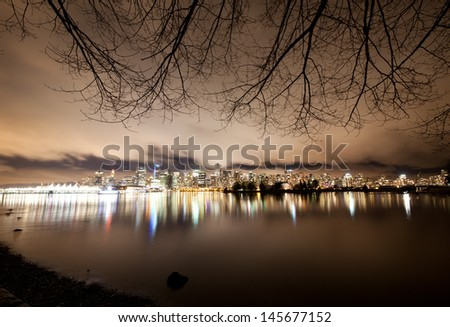 The Vancouver downtown skyline at night, Canada BC - stock photo