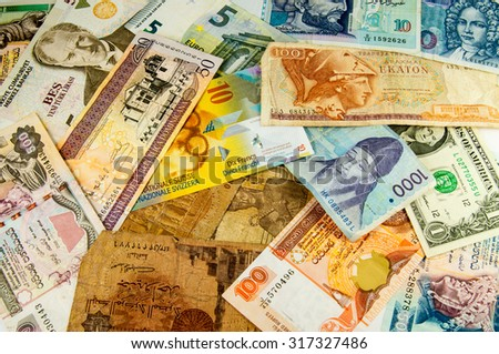 The variety of portraits on the banknotes from around the world - stock photo