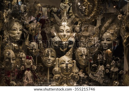 The variety of the Venetian carnival masks before - stock photo