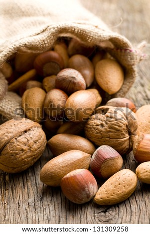 the various nuts in jute sack