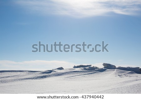 the vast Arctic expanse of the North snowy region - stock photo