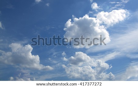 The vast blue sky and clouds sky.