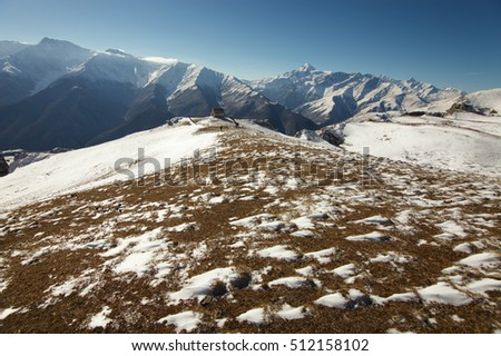 The vast plateau against the backdrop of mountain peaks. The Republic of Ingushetia.