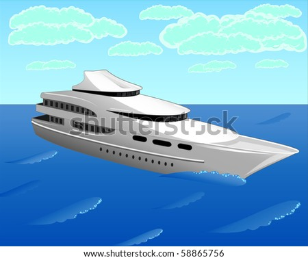 The vector illustration contains the image of the white yacht (you can find the same vector illustration in my portfolio) - stock photo