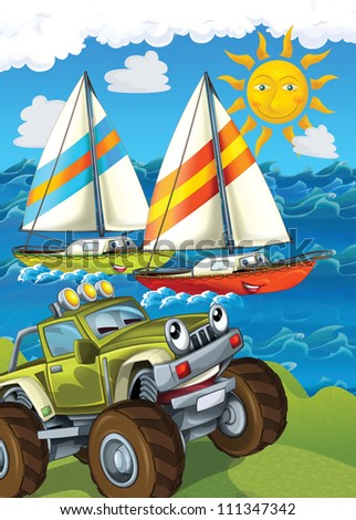 The vehicle and the ship - illustration for the children 5 - stock photo