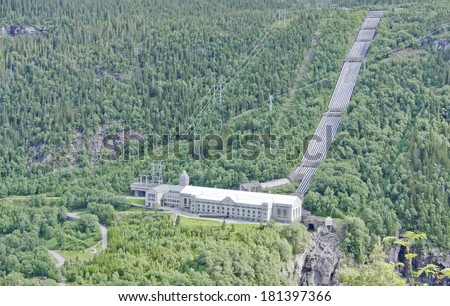The Vemork hydroelectric plant in Rjukan, Norway from hillside opposite side. The first plant in the world to mass-produce heavy water.