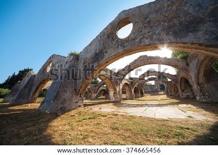 The Venetian arsenal at Gouvia, Corfu. The arches of the docks and the gateway is seen through the arches