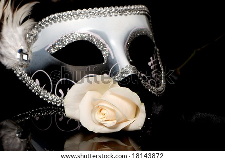 The Venetian mask and flower on a black background - stock photo