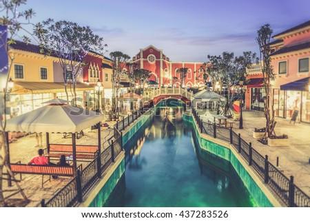 The Venezia Hua Hin, a shopping venue in Venice style near Cha-am and Hua Hin. (Vintage filter effect used) - stock photo