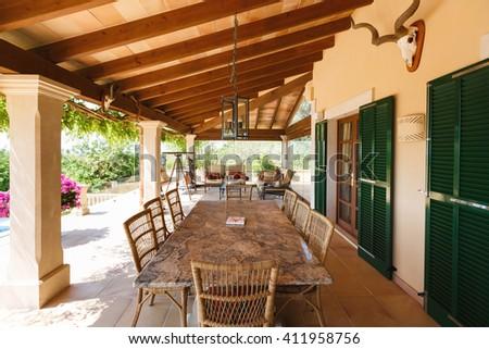 The veranda of the Spanish home nearby the Mediterranean Sea, Mallorca - stock photo